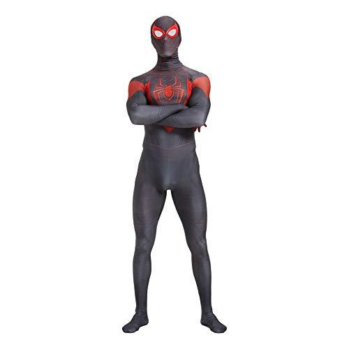 Disfraz de Spiderman Negro Miles Morales Cosplay Mono Unisex Adultos nios Mono Traje Juego Anime Fans Mono-Adult S
