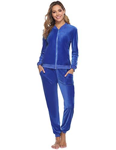 Abollria Damen Nicki Jogginganzug 2 Teiler Velours Hausanzug Kuschlig Freizeitanzug Zip Jacke mit Stehkragen+Hose mit Kordelzug und Taschen,Blau,L