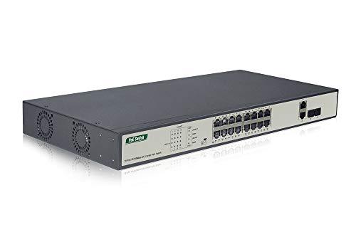 DIGITUS Fast Ethernet PoE Switch 19 Zoll 16 Ports 2x Uplink SFPRJ45 IEEE8023afat 250W Power Budget Schwarz