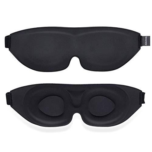 Femometer Mascherina per dormire, Mascherina per occhi da notte sagomata 3D Oscurante al 100% con cinturino regolabile, Blocca la luce, Cuscino per occhi Mascherina per occhi morbida e confortevole