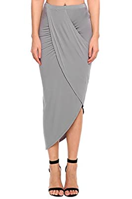 Chigant Womens Drape up Stretchy Asymmetrical High Low Short Irregular Open Fork Pencil Skirt