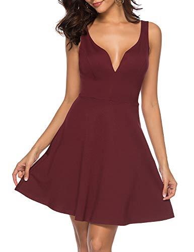 ZJCTUO Damen Kleid Abendkleid Ärmellos V-Ausschnitt Cocktailkleid Sexy Skaterkleid Partykleid Jerseykleid Rückenfrei A-Linie Knielang