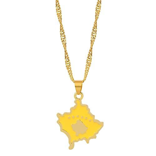 Collares con colgante de bandera de mapa de Kosovo para mujeres y niñas encanto de Color joyería elegante joyería colgante de Kosovo