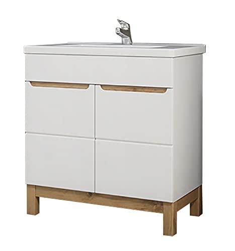 Mueble de baño Kalli lavabo de 80 cm, lavabo de pie, incluye lavabo, color blanco y roble