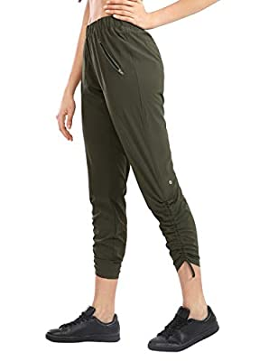 CRZ YOGA Women's Lightweight Joggers Athletic Hiking Pants with Zipper Pockets Lounge Track Pants Drawstring Ankle Olive Green Small