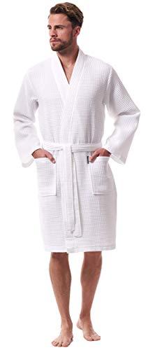 Morgenstern Bademantel Herren Waben MusterMorgenmantel Weiß leicht Männer Saunabademantel Kimono Herrenbademantel Bio Baumwolle dünn kurz Größe M