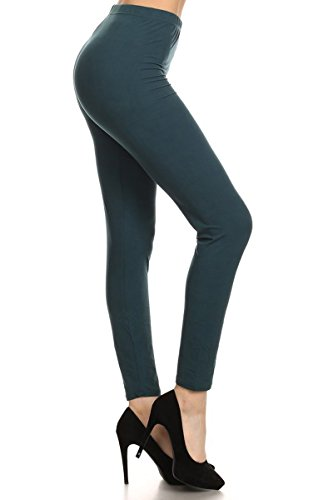 LDX128-Forest Teal Basic Solid Leggings, Plus Size