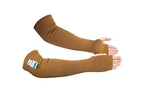 KEZZLED Kevlar Sleeves- Heat, Scratch & Cut Resistant Arm Sleeves with Thumb Holes- Arm Safety Sleeves- Long Arm Protectors- Flexible, Lightweight, Washable- 18 Inches, Desert Tan, 1 Pair