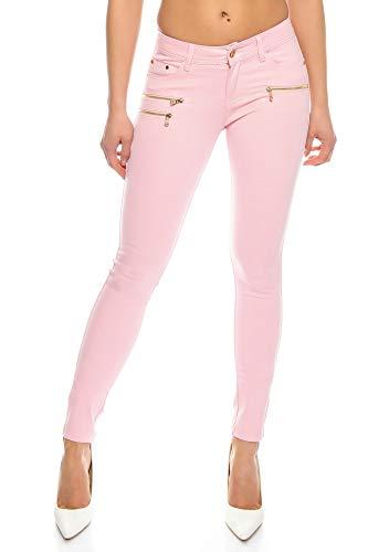 Crazy Age Damenhose Jegging Legging Zipper stylisch H086 (36, Rosa)
