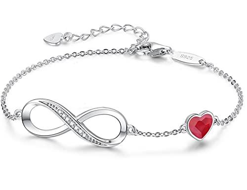 Beforya Paris – Pulsera de plata 925 para mujer con corazón de cristal, elegante caja de regalo