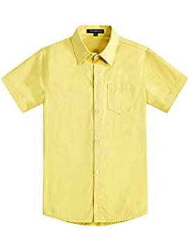 Spring&Gege Boys  Short Sleeve Solid Formal Woven Twill Dress Shirts Solid Yellow 5-6 Years