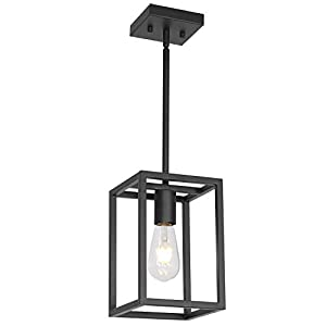 VINLUZ Industrial Metal Lantern 1 Light Kitchen Pendant Light Mini Black Finish Lighting Fixture Adjustable Hanging Ceiling Light for Dining Room Kitchen Cafe Bar