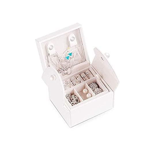 ROSG Joyero pequeño para Viajes Mini Organizador Almacenamiento de Joyas Estuche de Cuero portátil Exhibidor para Anillos Pendientes Collar Accesorios Regalos para niñas (Color: Blanco)