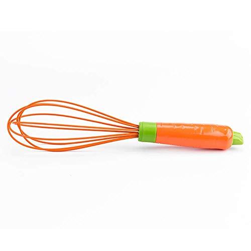 XHNXHN Batidora de Mano, batidora de Huevo de Silicona doméstica Batidora de Mano Manual, batidora de Silicona (Color: Rojo rábano, tamaño: 10 Pulgadas)