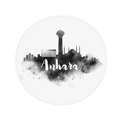 DIYthinker Ankara Turquie Landmark d'encre City Peinture antidérapant Tapis de Pet de sol rond de salle de bain salon cuisine Porte 60/50 cm Cadeau, Polyester filé, multicolore, 60X60cm