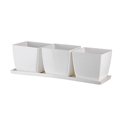 Trio Santiago Teraplast Vase design complet avec soucoupe - Surface brillante couleur blanc