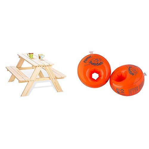 PINOLINO Kindersitzgarnitur Nicki für 4, aus massivem Holz, 2 Bänke mit 1 Tisch, empfohlen für Kinder ab 2 Jahren, Natur & Flipper Swimsafe - Schwimmhilfe, ab 12 Monate