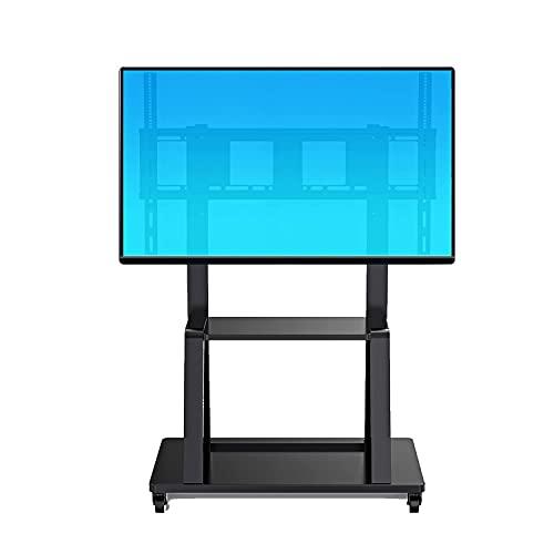 Soporte móvil para TV con ruedas Móvil para la mayoría de televisores planos curvos de 55 '-100' Carrito de TV portátil con ruedas Carrito con ruedas Ruedas con soporte de montaje Altura inclinable A