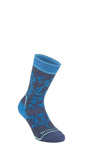 Bridgedale Chaussettes de randonnée mi-hautes pour femme en laine mérinos petit bleu marine/bleu