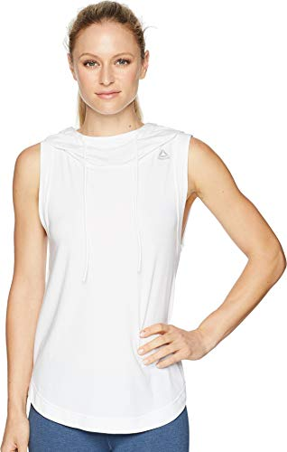 Reebok Workout Ready Sleeveless Hoodie Felpa, Bianco, L Donna