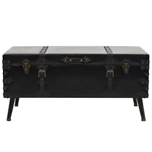 Vislone Mesa de Centro de MDF y Acero y Cuero Artificial, Mesa Escritorio de Estilo Vintage y Encanto rústico 102x51x48 cm Negro