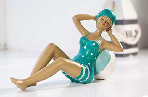 Wohnideen Kupke Deko Badefigur Alice 16x10cm auf Ball liegend in türkis weißem Badeanzug Retro Stil 50er 60er Jahre