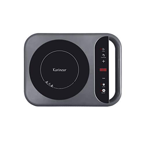 Karinear Placa de inducción portátil con manija - Placa de inducción con 2000 W, control táctil, temporizador, pantalla LED, bloqueo para niños - Peso ligero - 313 * 314 mm - 2000W