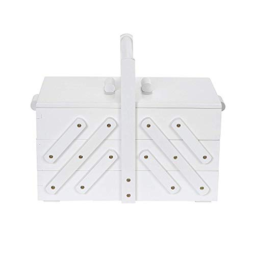 Prym 612580 - Scatola da cucito, in legno, misura M, colore: bianco
