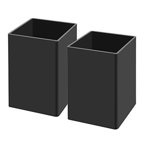 NIUBEE Black Acrylic Pen Holder 2 Pack, Desktop Pencil Cup Stationery Organizer for Office Desk Accessory