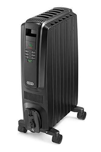 De'Longhi Oil-Filled Radiator Space Heater, Quiet 1500W, Adjustable Thermostat, 3 Heat Settings, Timer, Energy Saving, Safety Features, Nice for Home with Pets/Kids, Black