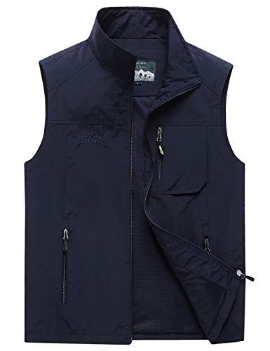 Gihuo Men's Casual Outdoor Lightweight Quick Dry Safari Travel Vest (Navy 02, Large)