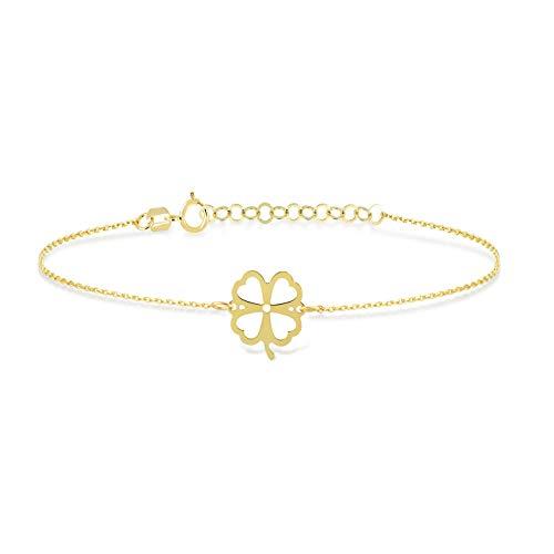 GELIN 14k Solid Gold Irish Clover Chance Link Chain Adjustable Bracelet for Women