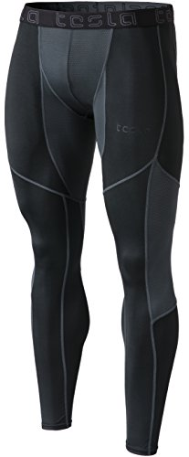 TSLA Men's Compression Pants Running Baselayer Cool Dry Sports Tights Leggings, Athletic(mup19) - Black & Red, Large.