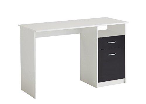 FMD Möbel 3004-001 Jackson Schreibtisch, Holz, weiß/schwarz, 123 x 50 x 76.5 cm