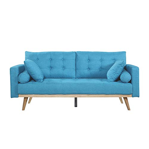 Casa Andrea Milano llc Mid Century Modern Tufted Upholstered Fabric Sofa Couch, Light Blue