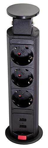 Gedotec tafelstopcontact inschuifbaar inbouwstopcontact zwart bureau & keuken - LIFTBOX DL10005 | meubelstopcontact met 3x Schuko-stekker & 2-voudige USB-aansluitingen | IP20 getest | 1 stuk - kabeldoos
