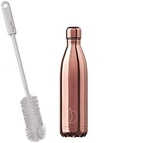 CHILLYs Trinkflasche & Isolierflasche Chrome Rosé Gold Bottle - Edelstahl Thermos Wasserflasche - Flasche hält 24 Std. kalt & 12 Std. heiß + SCHARFsinnig Flaschenbürste