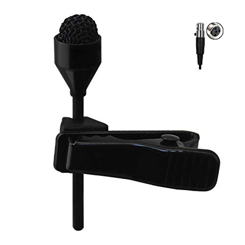 JK MIC-J 044 Lavalier Lapel Clip On Omni-Directional Condenser Microphone Compatible with Shure Wireless Transmitter (Mini XLR TA4F Connector)