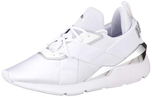 Puma Damen Muse X3 METALLIC WN S Sneaker, Weiß Weiß Silber, 38.5 EU