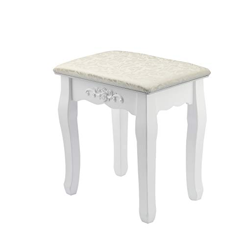 N/Y Table Stool 37 * 28 * 44cm Vintage Dressing Table Stool Soft Padded Piano Room Chair Rest Makeup Seat(White)