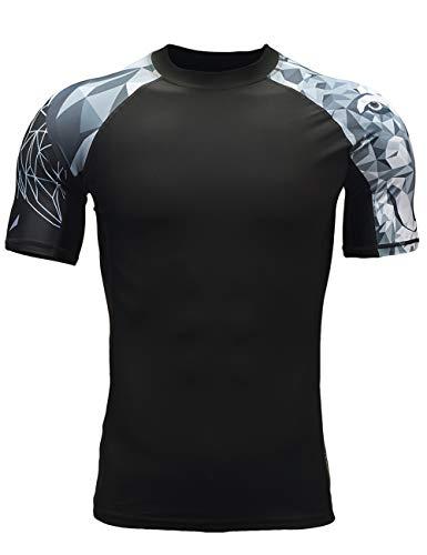 ADOREISM Men's Splice Compression Short Sleeve Rash Guard Surf Swim Shirt UV Sun Protection UPF 50+ (Wolf,M)