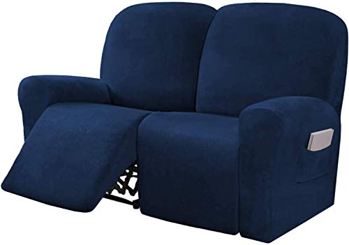 ZHTY 6-Pieces Stretch Velvet Loveseat Recliner Cover Reclining Couch Covers for 2 Seater Couch Furniture Covers for Recliner with Side Pocket, Soft Thick Form Fitted Sofa Cover