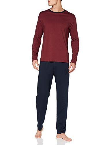 Schiesser Herren Long Life Soft Schlafanzug lang Rundhals Pyjamaset, Rot (Bordeaux), 52