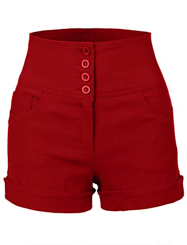 RubyK Womens High Waisted Sailor Shorts with Stretch,Rbkwb1173_red,Medium,Rbkwb1173_red,Medium
