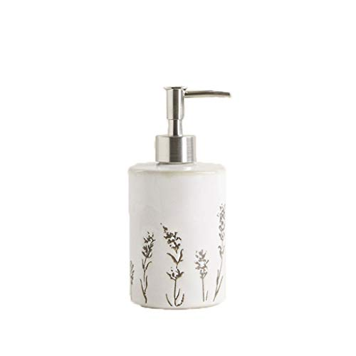 hanxiaoyishop Dispensador de jabón Botella de jabón de mano Moda Hermosa Lavanda Champú y Gel de Ducha Botella de Jabón de Mano de Cerámica Dispensador de Jabón Dispensador de Jabón