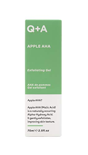Q+A Apple AHA Exfoliating Gel, naturally occurring Malic and Lactic Acid alongside Apple Fruit Extracts and Glycolic Acid for smoother, brighter skin (75ml)