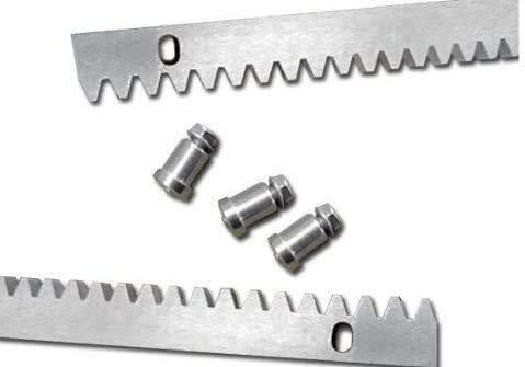 6 metros cremallera de acero cincado 30 x 12 con separadores y tornillos para motor de puerta o cancela corredera, estandar compatible con cualquier marca de motor