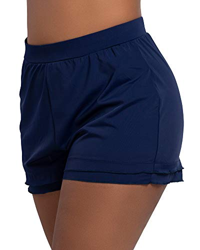 KEEPRONE Women's Plus Size Swimsuit Shorts Swim Bottoms Beach Board Shorts Swimwear with Soft Liner Navy Blue