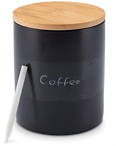 Lambda Coffee® Kaffeedose schwarz aus Keramik 300ml luftdicht | mit Kreide & Beschriftungstafel | Vorratsdose mit Holzdeckel zur Aufbewahrung von Kaffee, Mehl, Zucker, Tee, Nudeln etc.