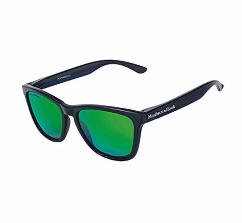 Gafas de Sol Polarizada Adultos Unisex Hombre y Mujer con Montura Negro Mate y Lentes Espejadas Verde Jade